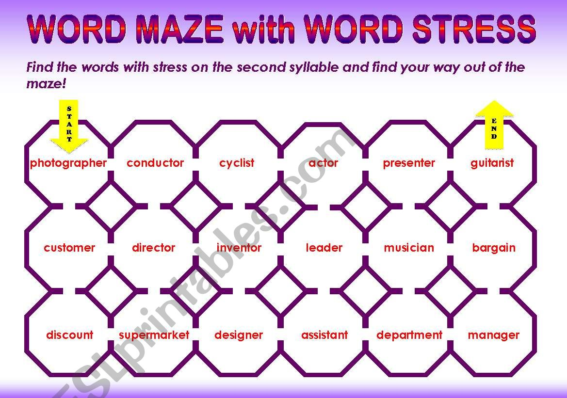 WORD STRESS word maze - stress on second syllable