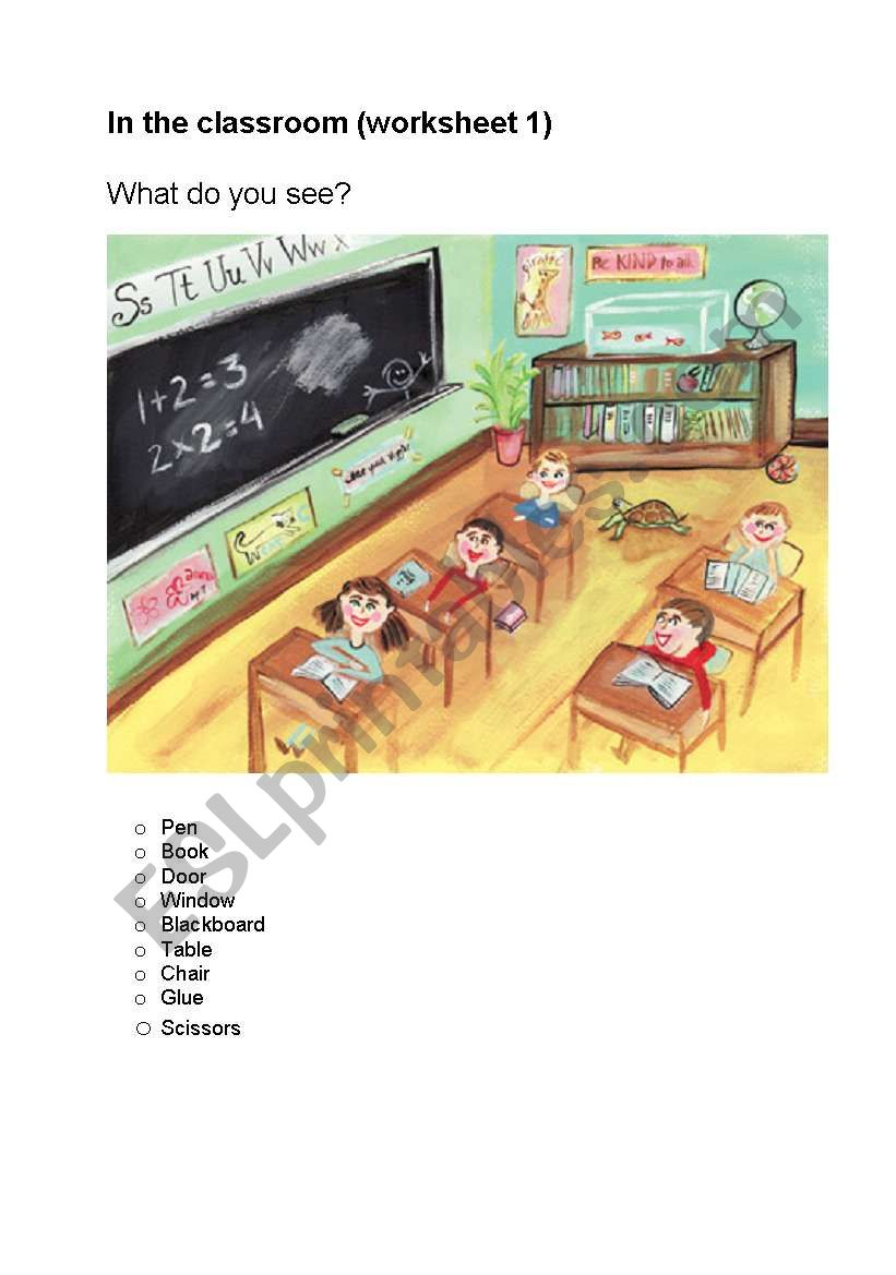 In the classroom worksheets worksheet