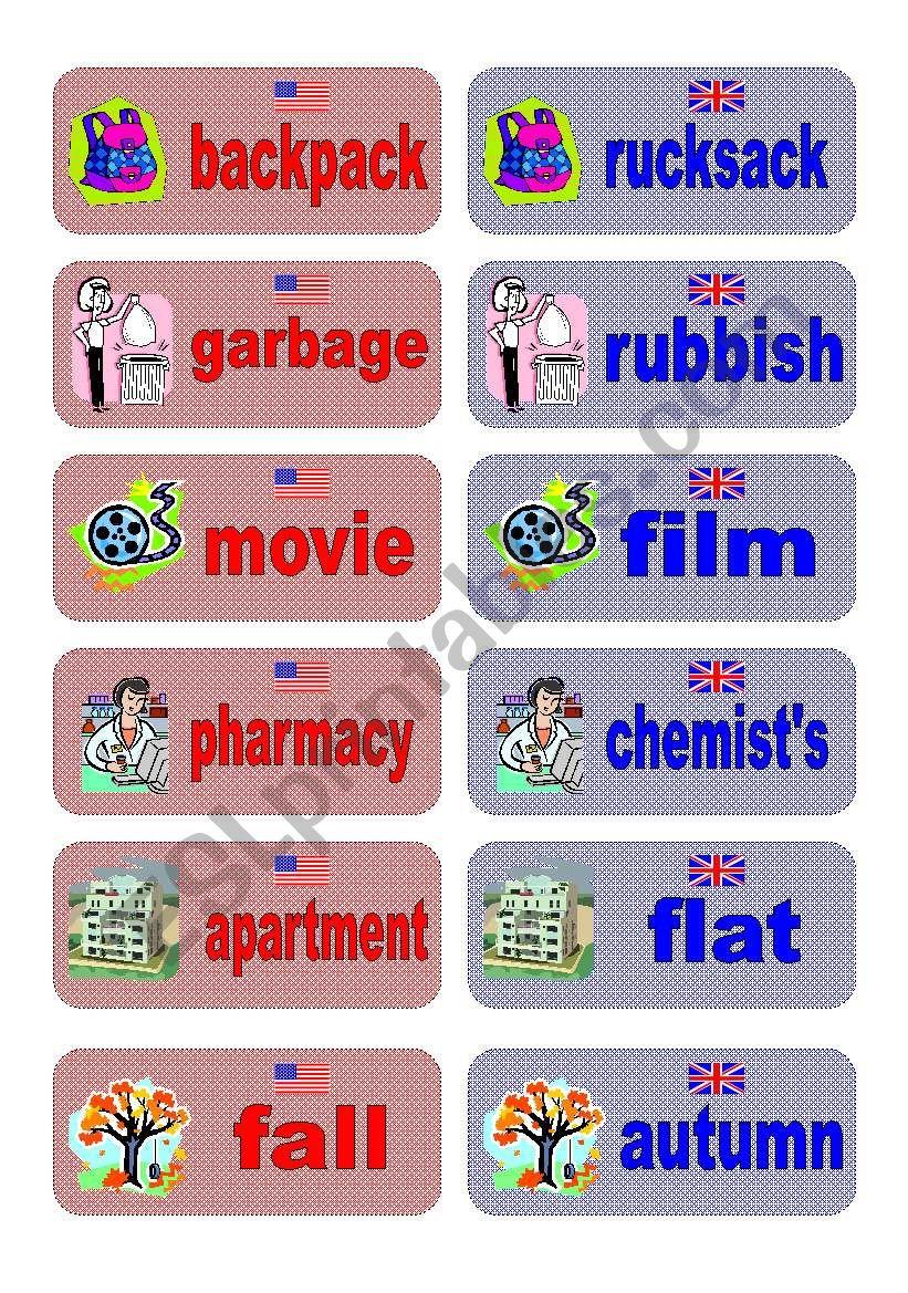 British English vs American English memory game - part 1