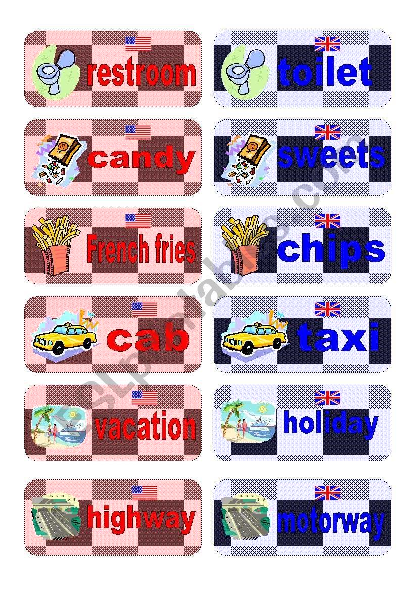 British English vs American English memory game - part 2