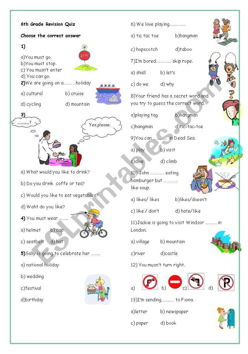 6th Grade Revision worksheet