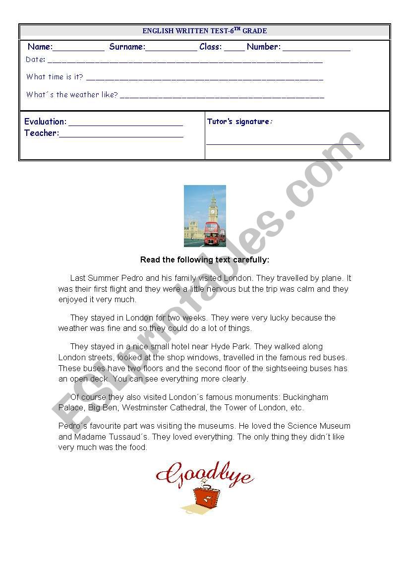 Written test about  the Simple Past Tense - four pages