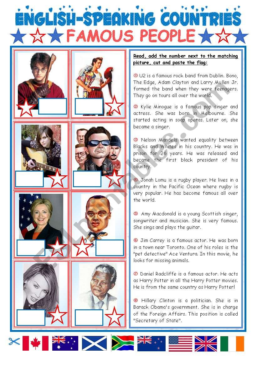 ENGLISH-SPEAKING COUNTRIES (23) - FAMOUS PEOPLE