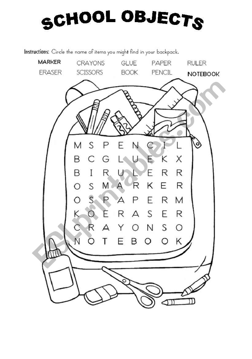 SCHOOL OBJECTS WORDSOUP worksheet