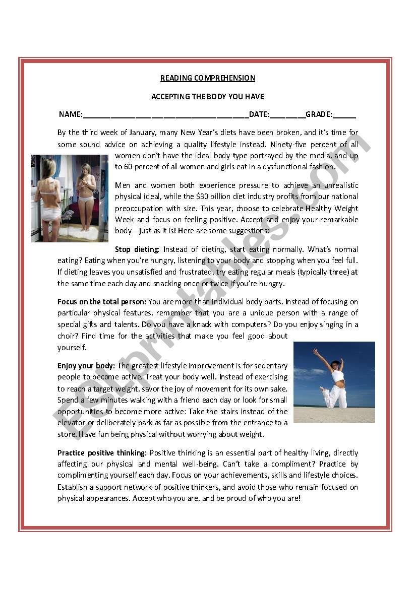 Reading Comprehension Activity - ESL worksheet by capekita