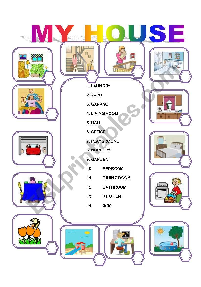 Rooms Worksheet: MATCH THE ROOMS IN THE HOUSE