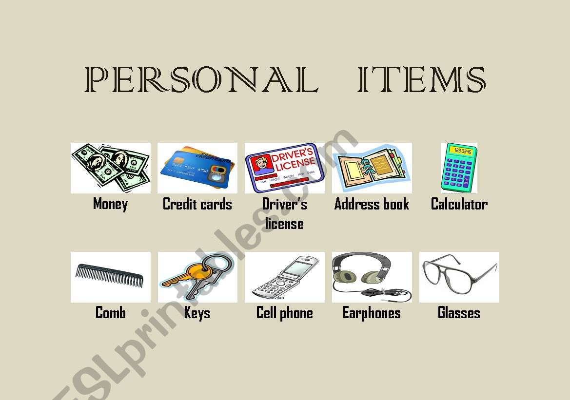 personal items vocabulary english printable worksheets preview worksheet