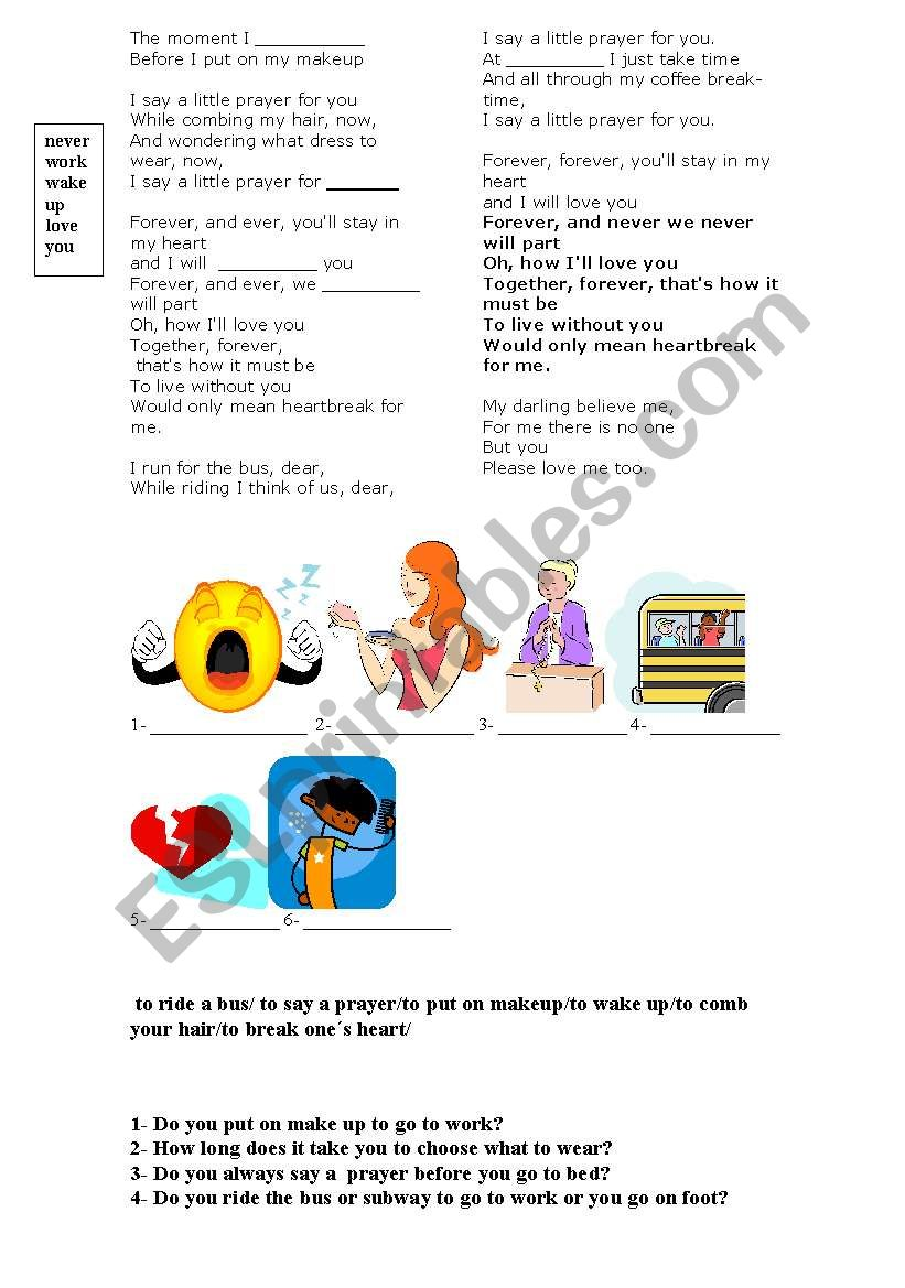 Song - Say a little prayer for you - ESL worksheet by
