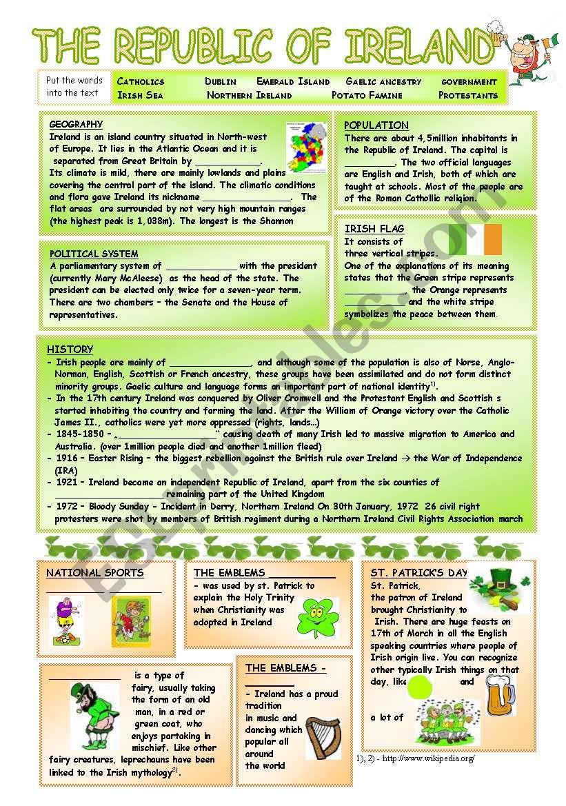 Ireland - Basic facts worksheet