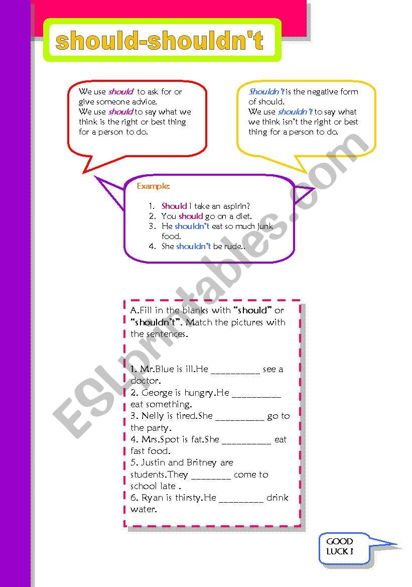 should or shouldn´t ( 2 pages + answer key )