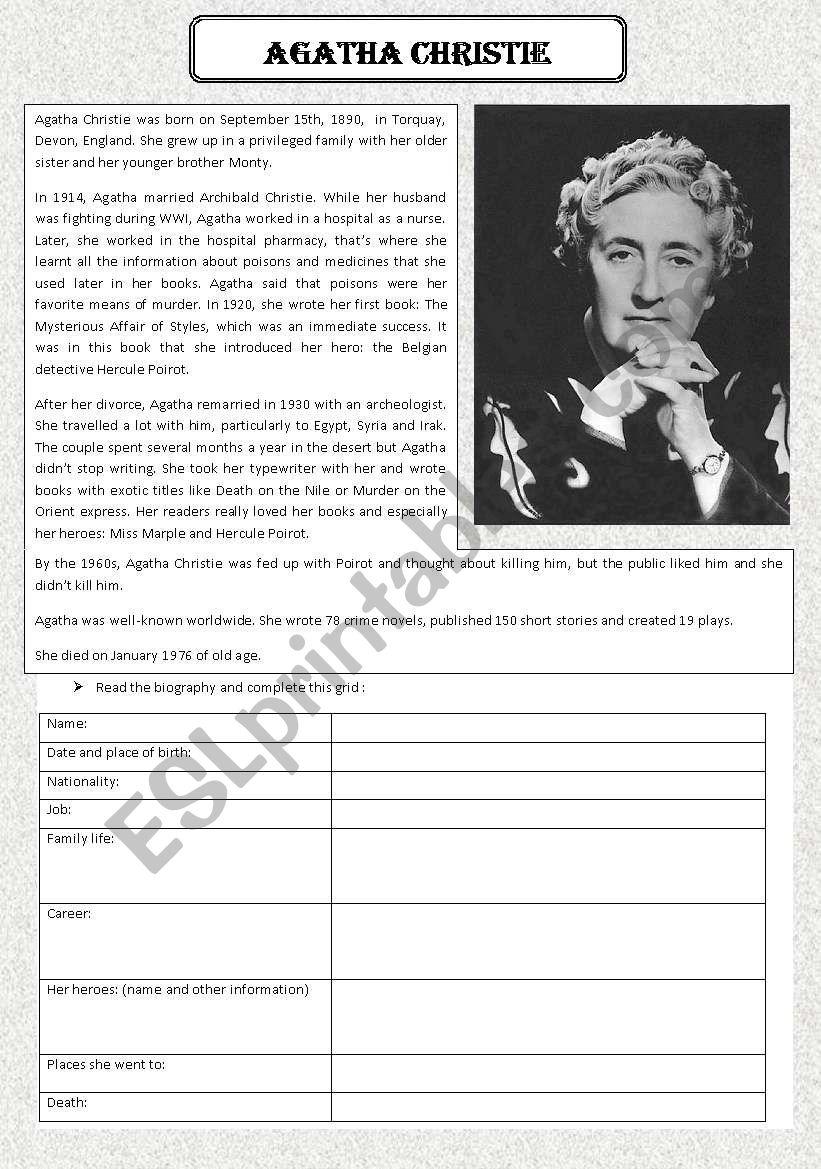 Agatha Christie biography worksheet