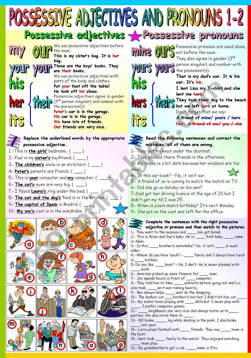 POSSESSIVE ADJECTIVES AND PRONOUNS 1-2 (B&W VERSION+KEY INCLUDED)