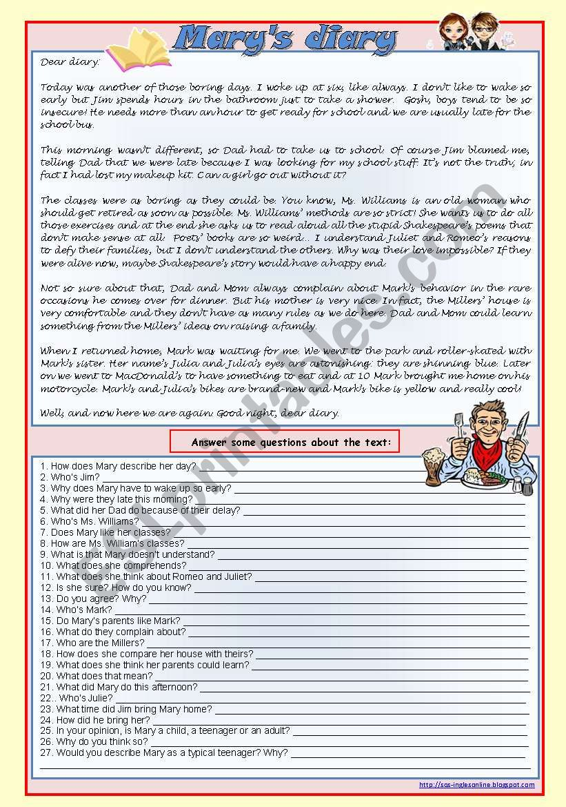 Mary´s diary (reading comprehension, genitive, verb tenses, comparatives, conditionals 1 and 2) ***fully editable ((4 pages))