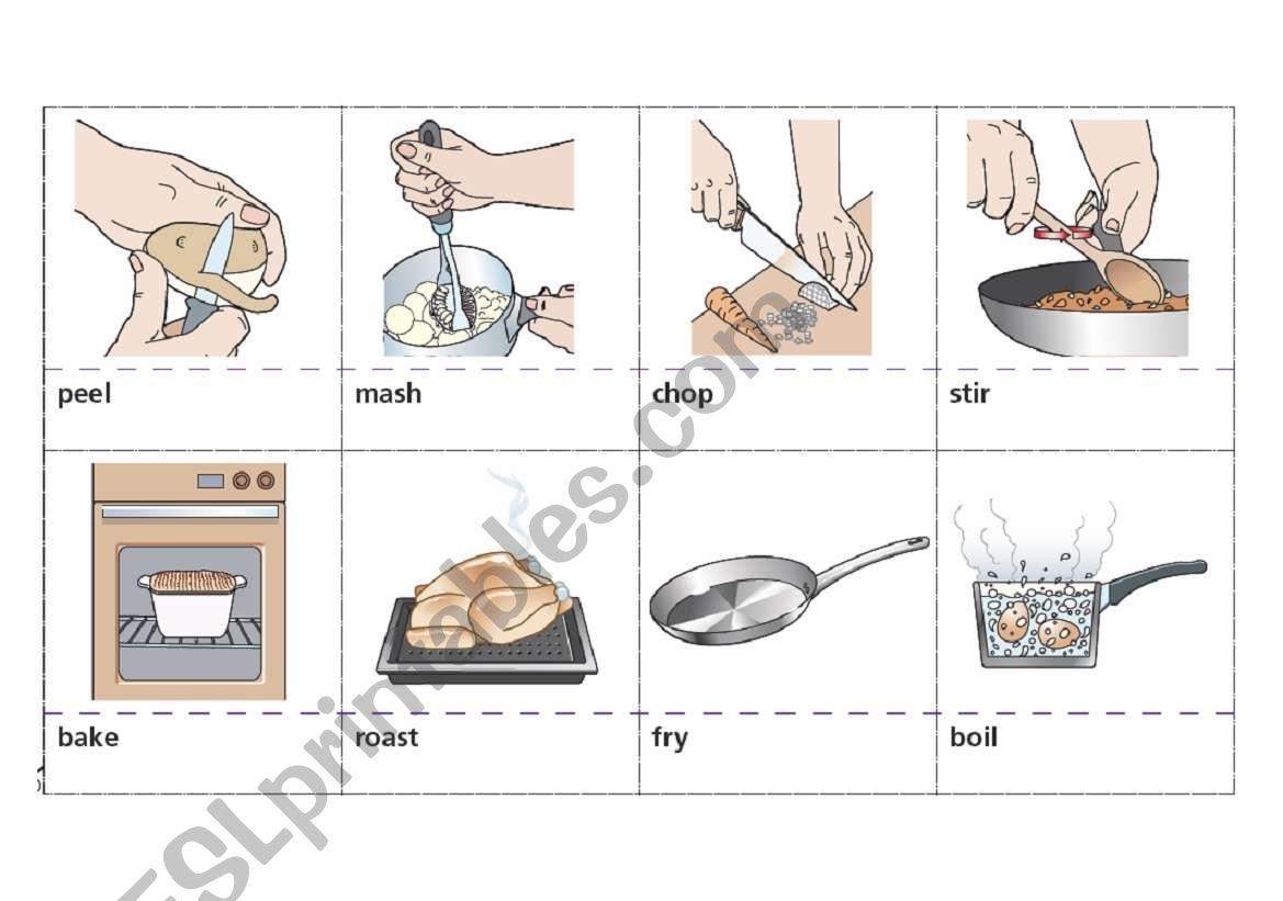 Cooking verbs Flashcards worksheet