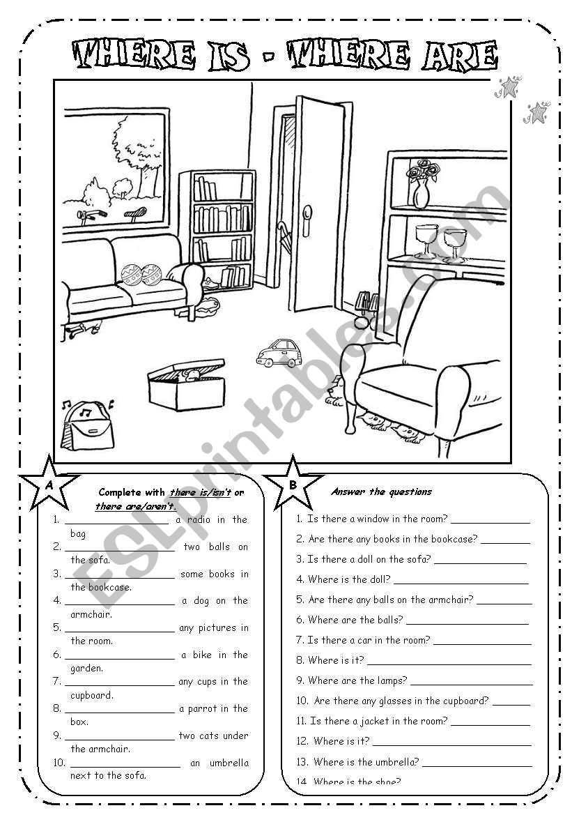 english worksheets there is there are prepositions b w. Black Bedroom Furniture Sets. Home Design Ideas