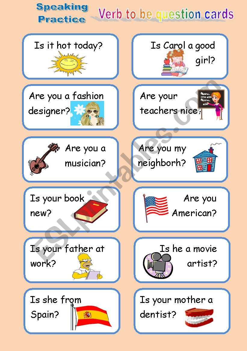 Verb to be Question Cards worksheet