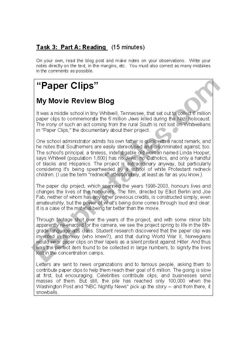 English worksheets: The Paper Clips Project evaluation ...