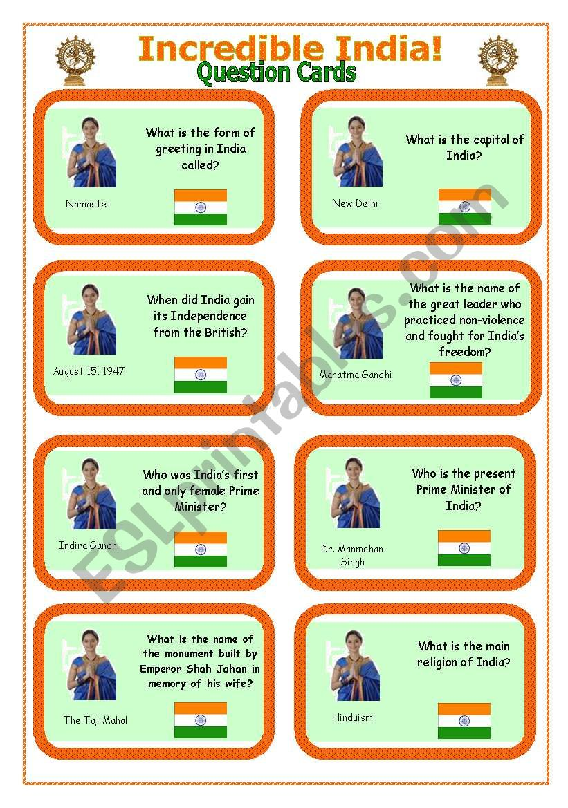 Incredible India! - Question Cards
