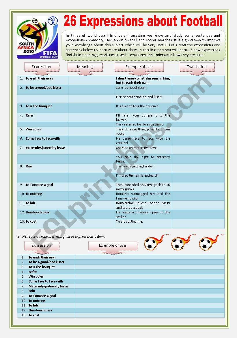 26 IDIOMS & EXPRESSIONS related to FOOTBALL & SOCCER - 5 EXERCISES + 9 Curiosities + Vocabulary Study