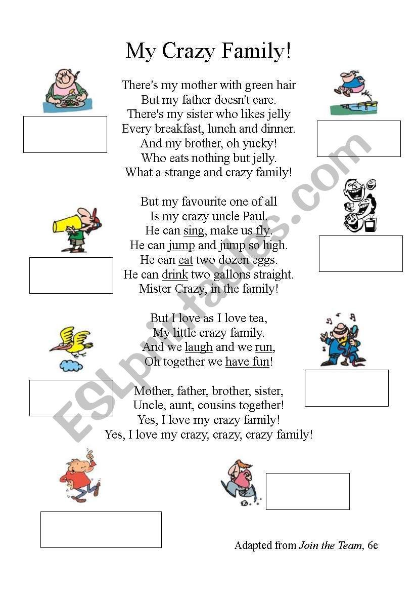 My Crazy Family Song Poem Esl Worksheet By Zeline