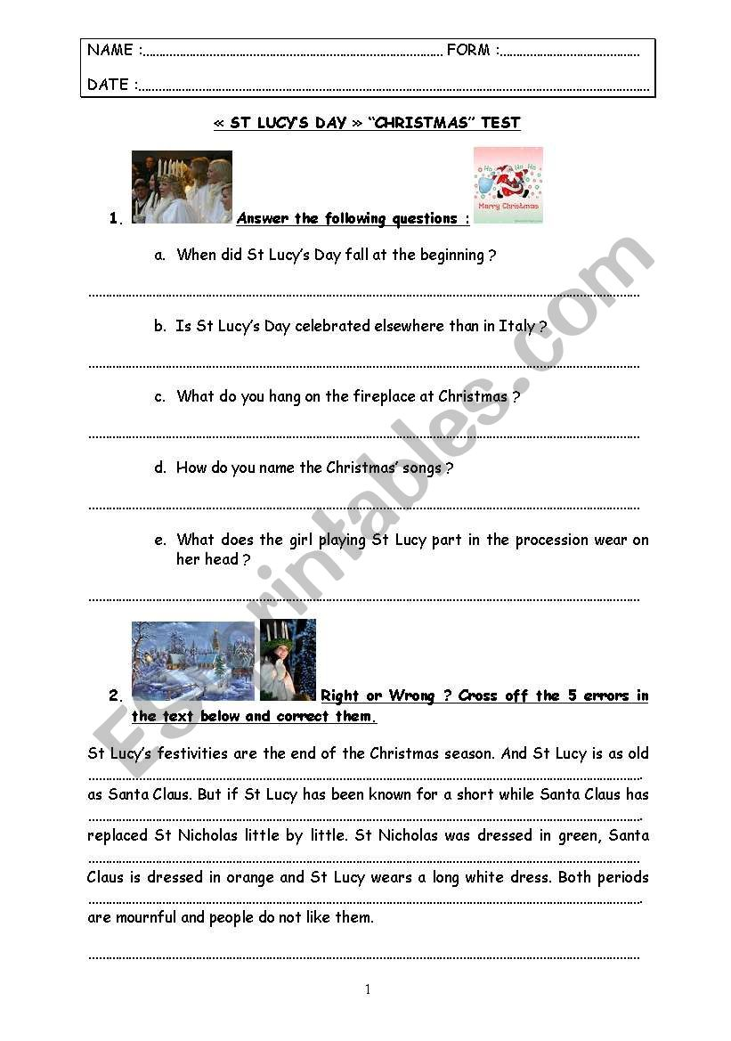 special days : test step 10 - St Lucy´s Day & Christmas.
