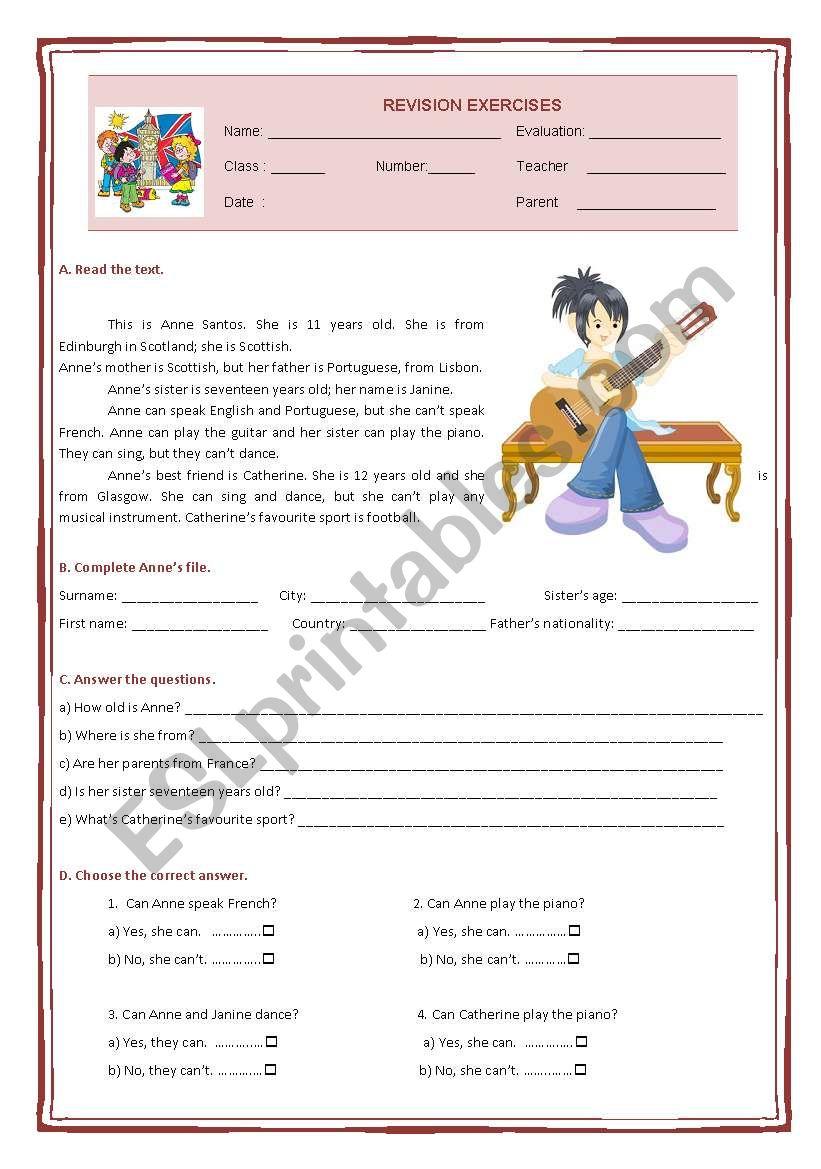 5th grade revision exercises worksheet