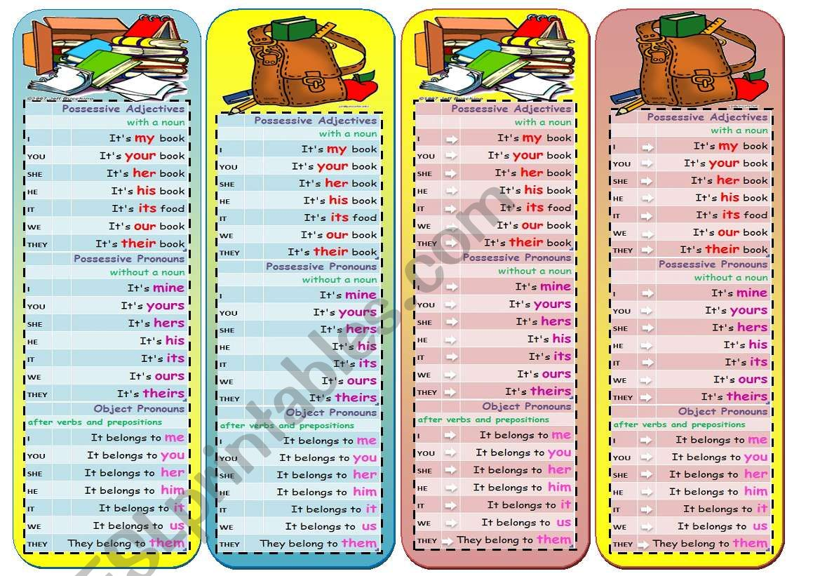 Bookmarks with Pronouns worksheet