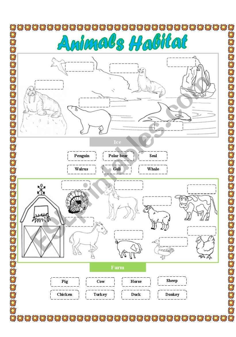animals habitat farm ice cut and paste esl worksheet by lupiscasu. Black Bedroom Furniture Sets. Home Design Ideas