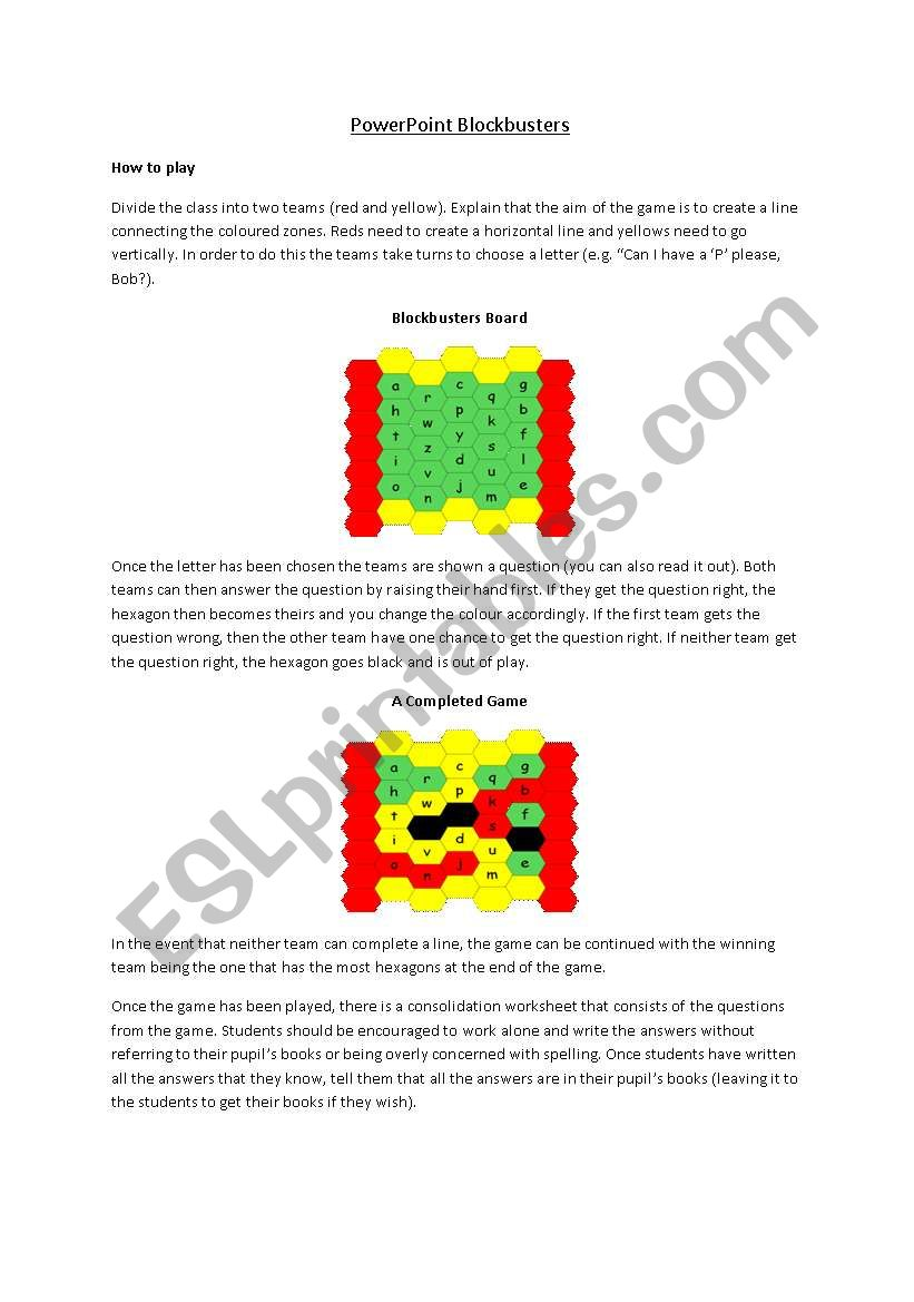 Blockbusters Powerpoint Explanation