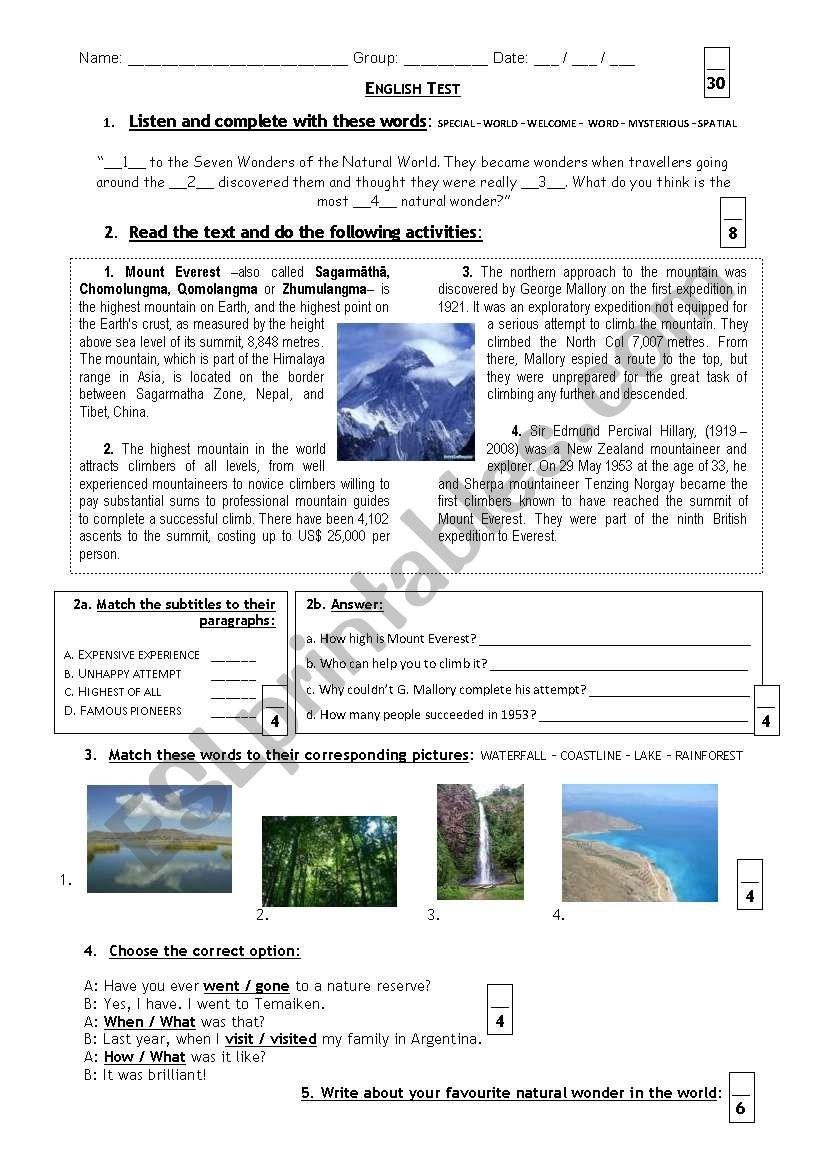 Test (Mount Everest) worksheet