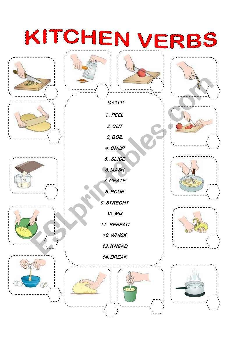 MATCH THE KITCHEN VERBS worksheet