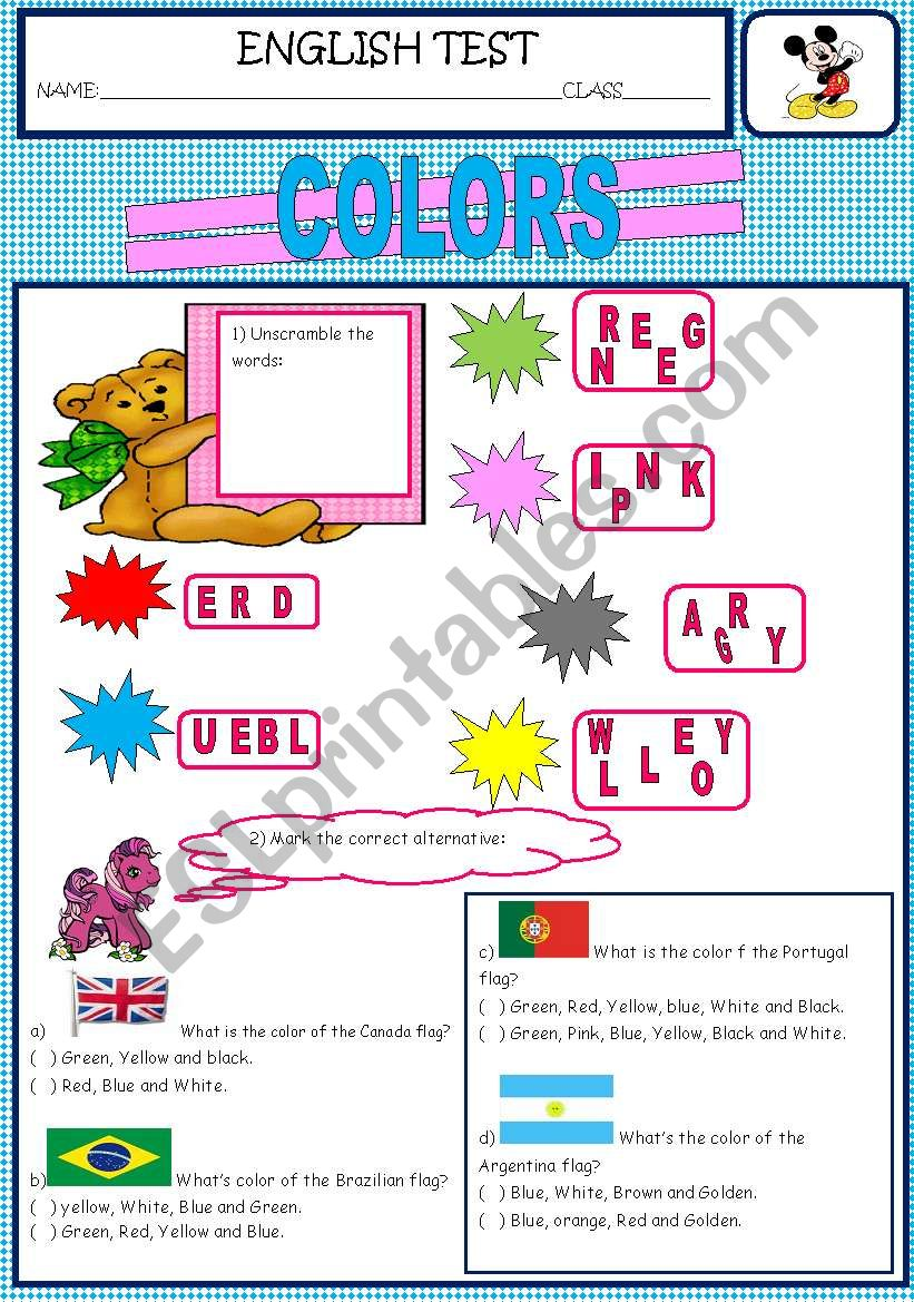 COLOR worksheet