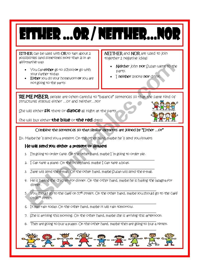 Either Or Neither Nor Esl Worksheet By Imelda