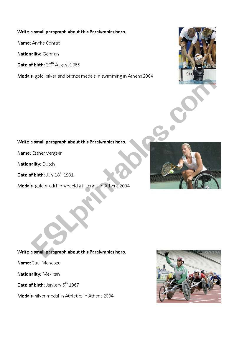 Writing  - Paralympics heroes worksheet