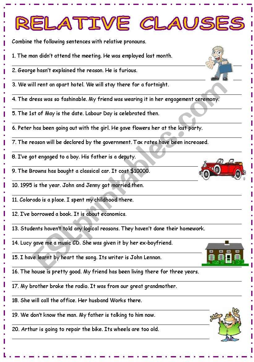 Relative -adjective- clauses worksheet