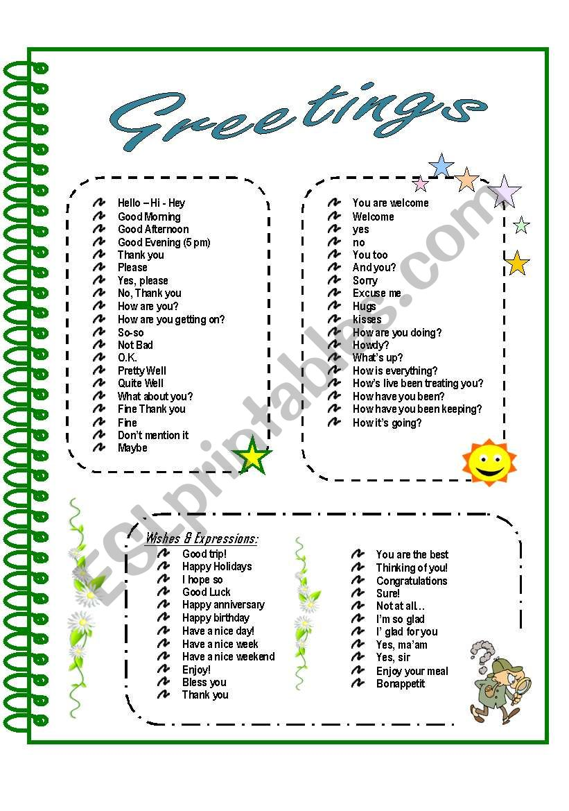 Greetings farewells esl worksheet by gmbley greetings farewells worksheet m4hsunfo
