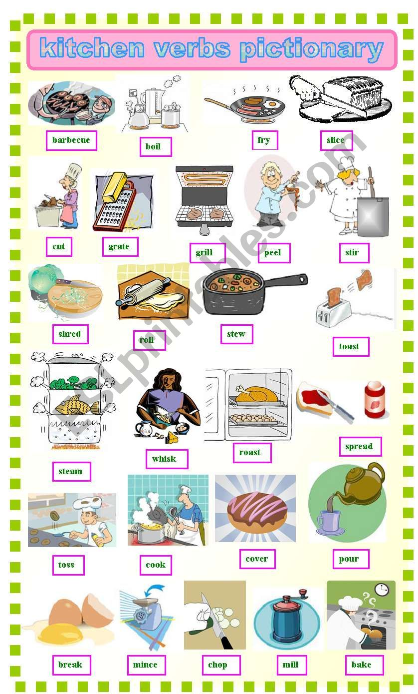 Kitchen verbs pictionay worksheet