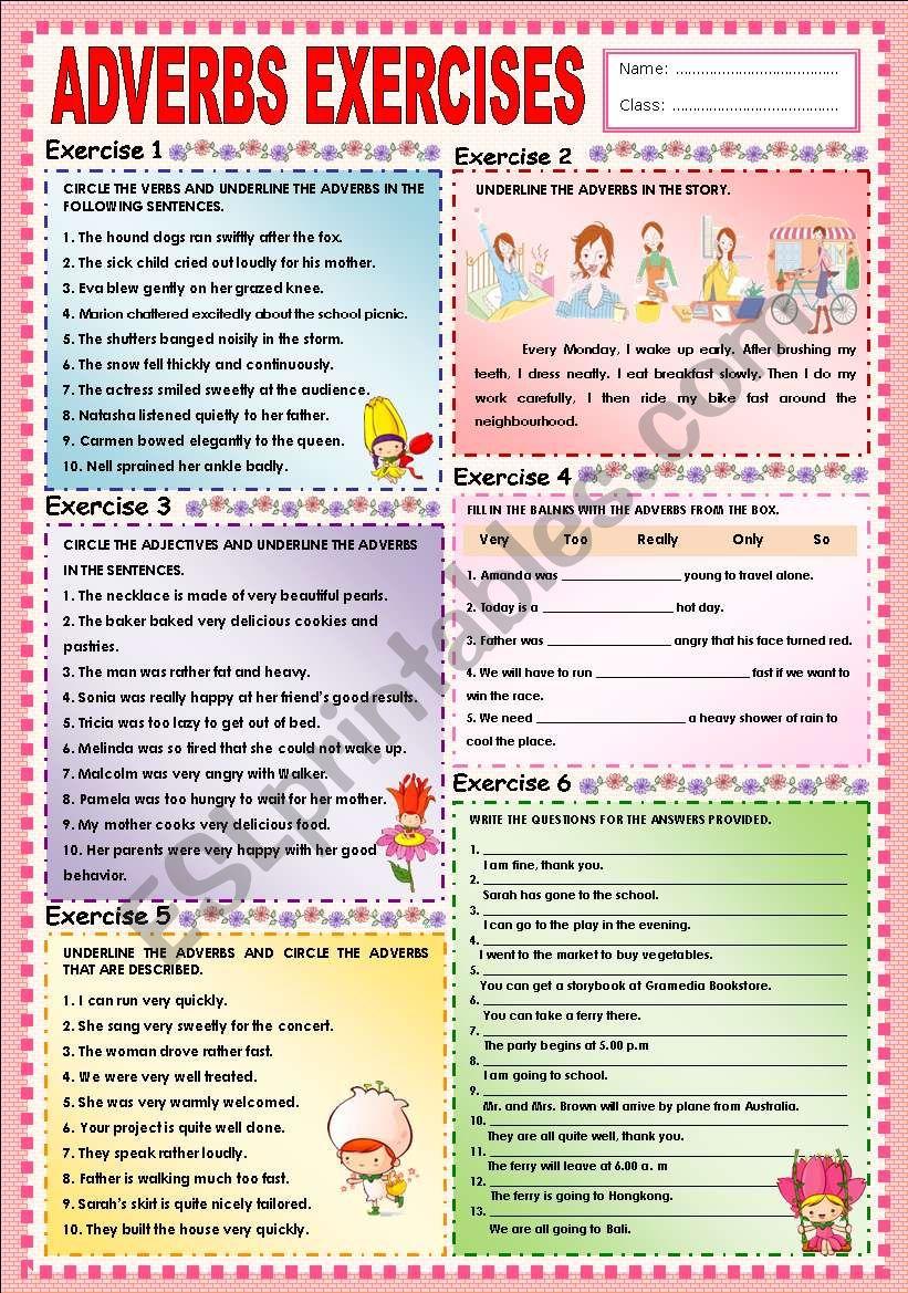 Adverbs exercises (complete) - ESL worksheet by Ayrin
