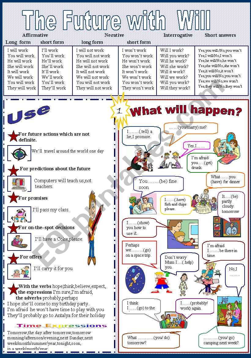 The future with Will 1/2 worksheet