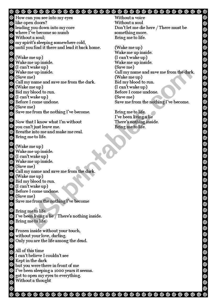 Bring me to life by Evanescence! - ESL worksheet by Pequena