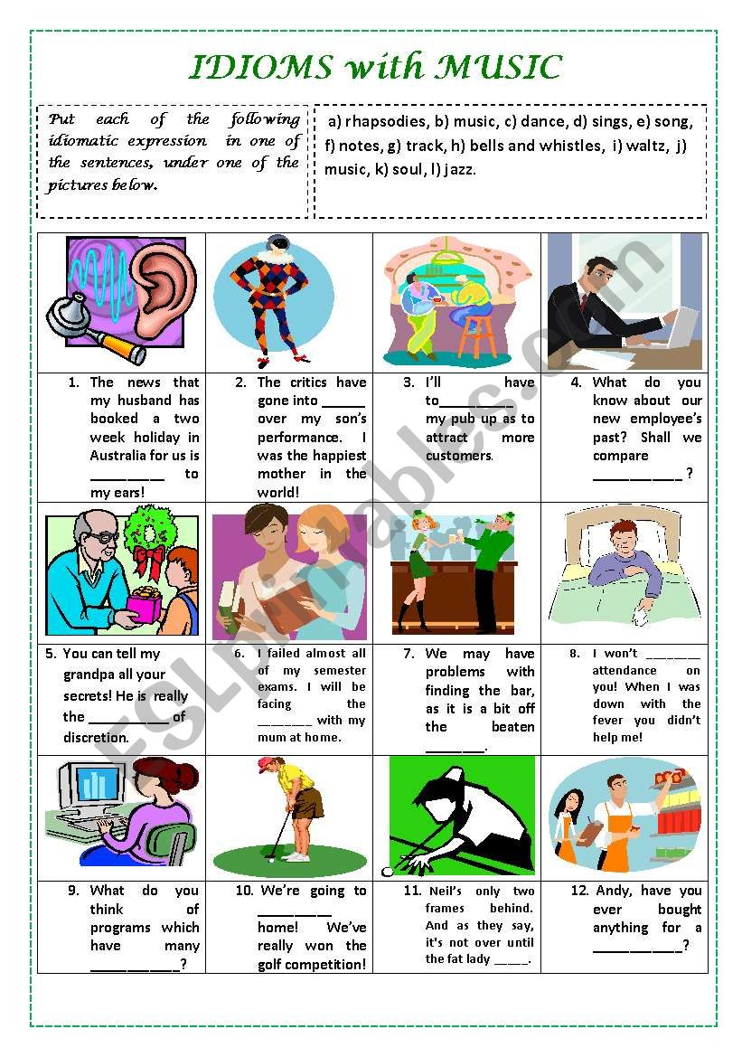 IDIOMS WITH MUSIC  (with key) worksheet