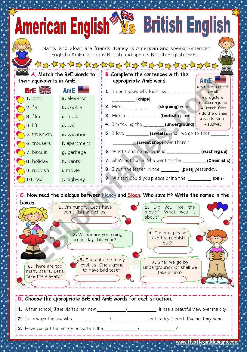 When in America speak like the Americans  -  BrE   Vs   AmE  (1)   for elementary stds