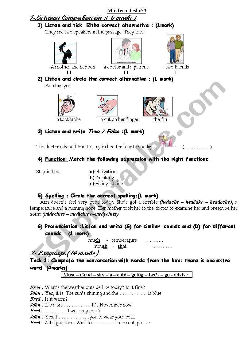 mid term test n°3 worksheet