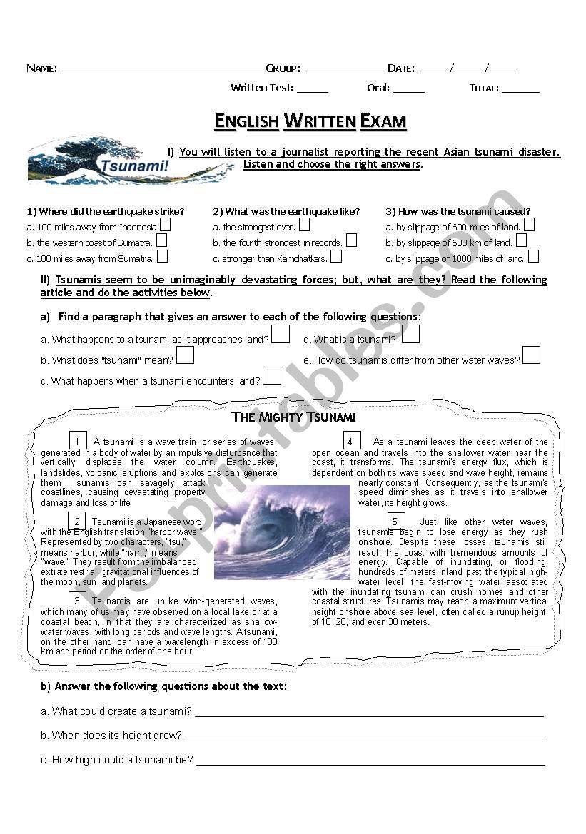 Exam or Test (Tsunami) worksheet