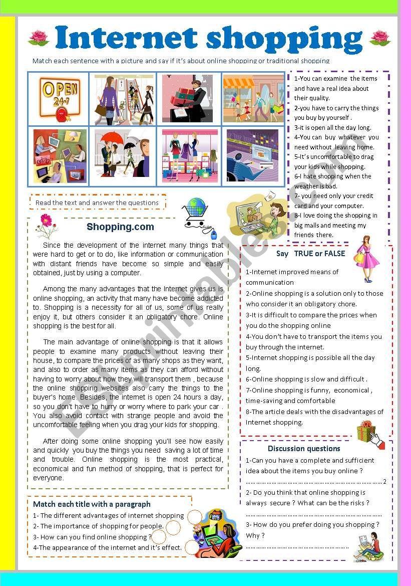 Internet shopping worksheet