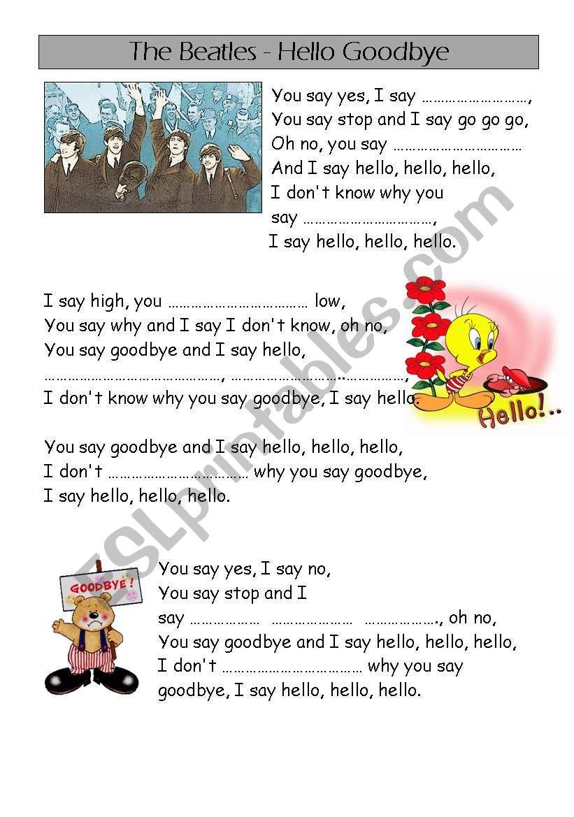 the Beatles - song - hello goodbye