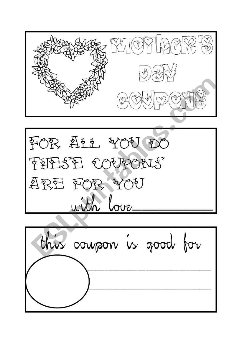 mother´s day coupon book worksheet