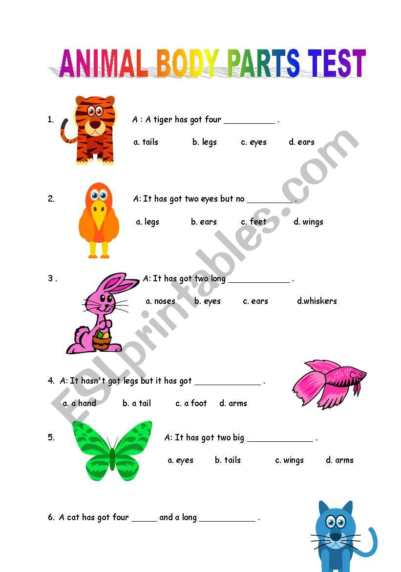animal body parts test esl worksheet by mongo. Black Bedroom Furniture Sets. Home Design Ideas