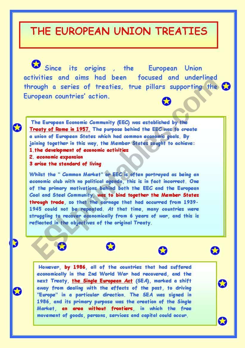 THE EUROPEAN UNION TREATIES. worksheet