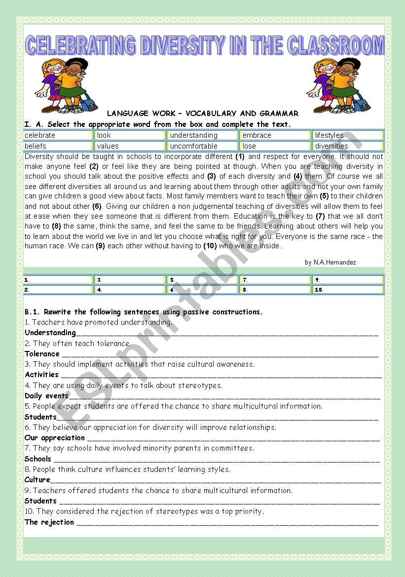 CELEBRATING DIVERSITY IN THE CLASSROOM - ESL worksheet by